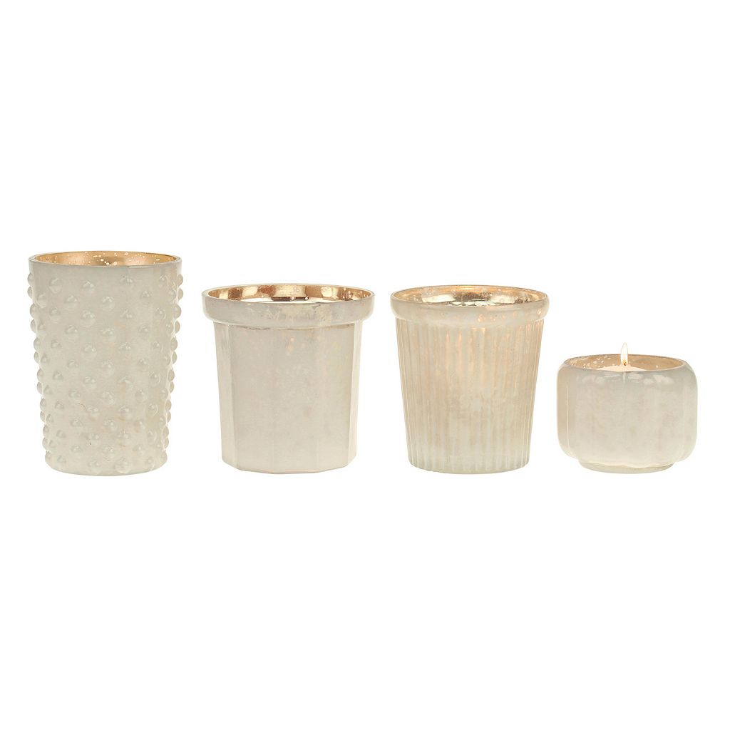 Stonebriar Collection Milk & Mercury Glass Votive Candle Holder 4-piece Set