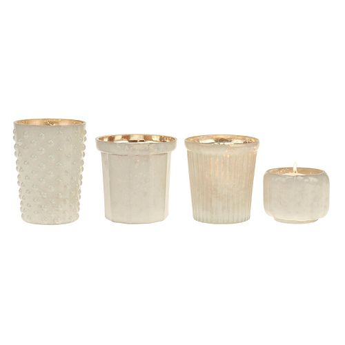 Stonebriar Collection Milk & Mercury Glass Votive Candle Holder 4-piece Set