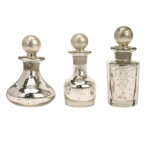 Stonebriar Collection Antique Mercury Glass Bottle Table Decor 3-piece Set
