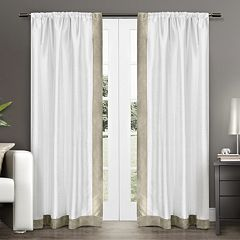 Exclusive Home 2-pack Grammercy Bordered Faux Silk Window Curtains