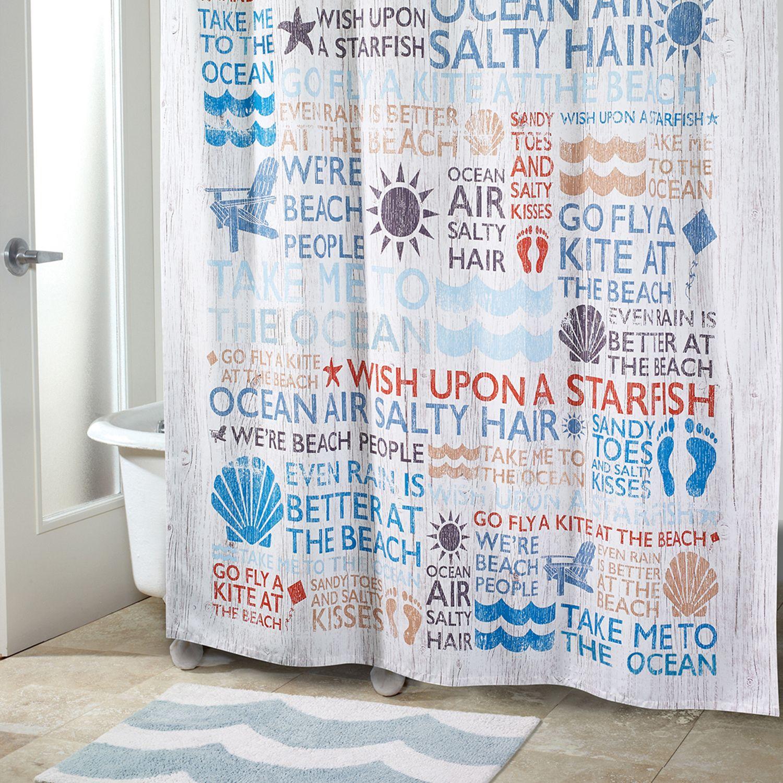 Avanti Beach Words Shower Curtain