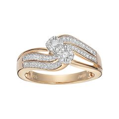 Always Yours 14k Gold Plated 1/4 Carat T.W. Diamond Flower Twist Engagement Ring