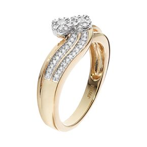 Always Yours14k Gold Plated 1/4 Carat T.W. Diamond Flower Twist Engagement Ring