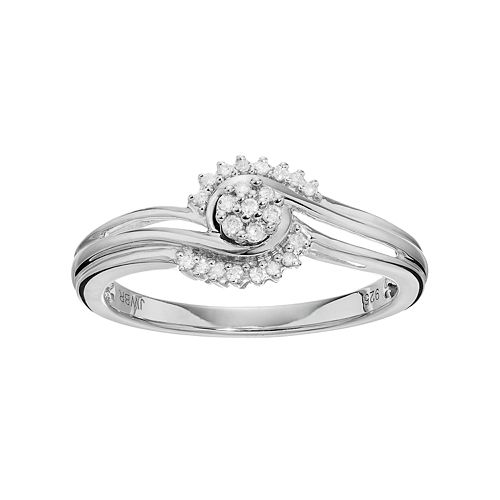 Always Yours Sterling Silver 1/10 Carat T.W. Diamond Flower Twist Engagement Ring