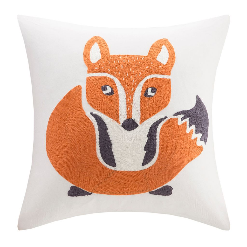 INK+IVY Kids Foxy Embroidered Square Throw Pillow