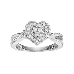 Always Yours Sterling Silver 1/4 Carat T.W. Diamond Heart Halo Engagement Ring