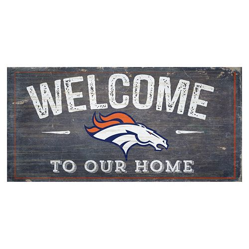 Denver Broncos Distress Welcome Sign