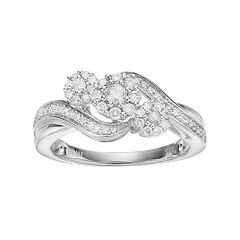 Always YoursSterling Silver 1/2 Carat T.W. Diamond Flower Engagement Ring
