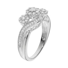 Always Yours Sterling Silver 1/2 Carat T.W. Diamond Flower Engagement Ring