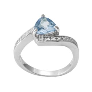 RADIANT GEM Sterling Silver Lab-Created Blue Topaz & Diamond Accent Bypass Ring