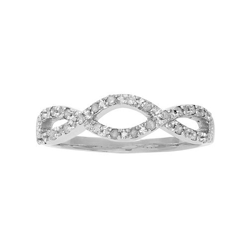 Sterling Silver 1/4 Carat T.W. Diamond Infinity Ring