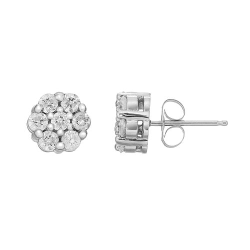 10k White Gold 3/4 Carat T.W. Diamond Cluster Stud Earrings