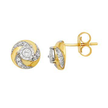 10k Gold 1/5 Carat T.W. Diamond Swirl Stud Earrings