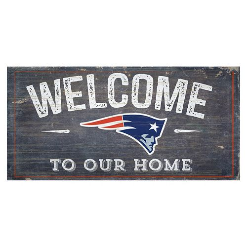 New England Patriots Distress Welcome Sign