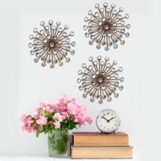 Stratton Home Decor Jeweled Sunburst Wall Art 3-piece Set
