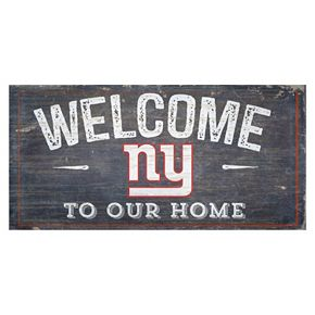 New York Giants Distress Welcome Sign