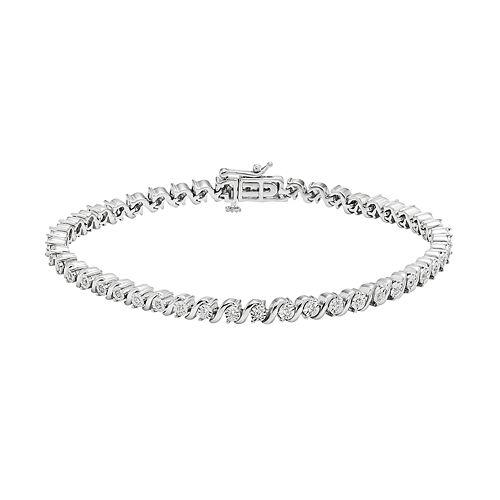 Sterling Silver 1/3 Carat T.W. Diamond Swirl Bracelet