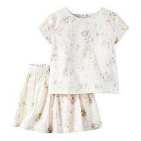 Toddler Girl Carter's Ivory Skirt & Top Set