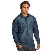 Men's Antigua Modern-Fit Chambray Button-Down Shirt