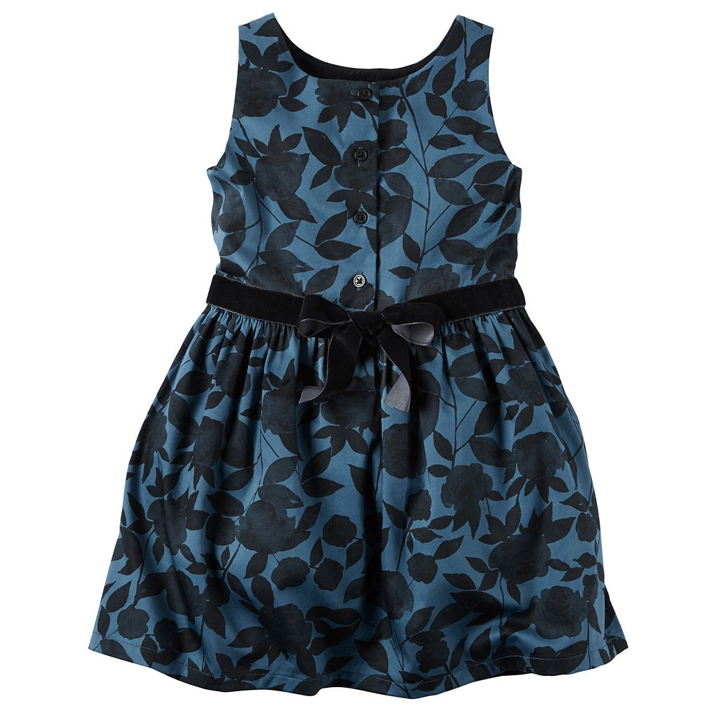 Toddler Girl Carter's Navy & Velvet Dress