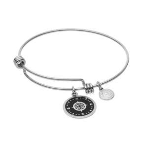 """love this life""""I'd Be Lost Without You"""" Compass Disc Charm Bangle Bracelet"""