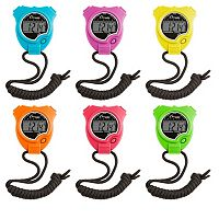 Champion Sports 6 pc Neon Multicolor Stop Watch Set