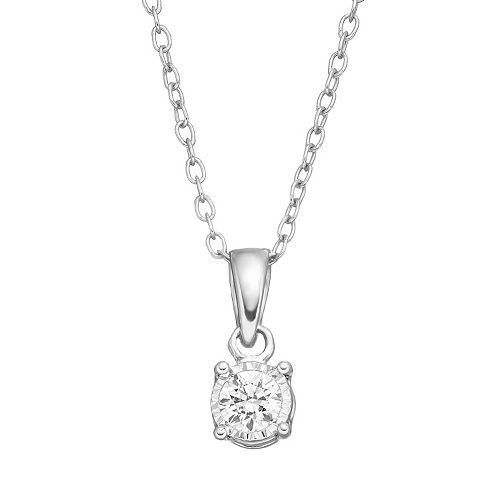 10k White Gold 1/10 Carat T.W. Diamond Solitaire Pendant Necklace