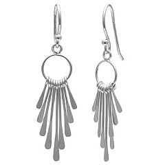 PRIMROSE Sterling Silver Graduated Paddle Drop Earrings