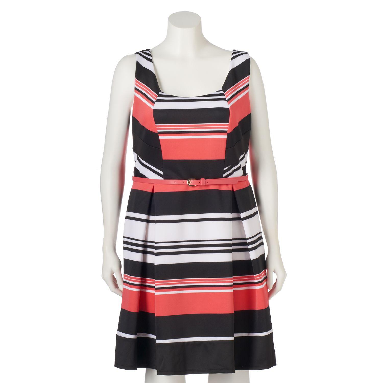 Juniors Plus Size Trixxi Scuba Striped Skater Dress
