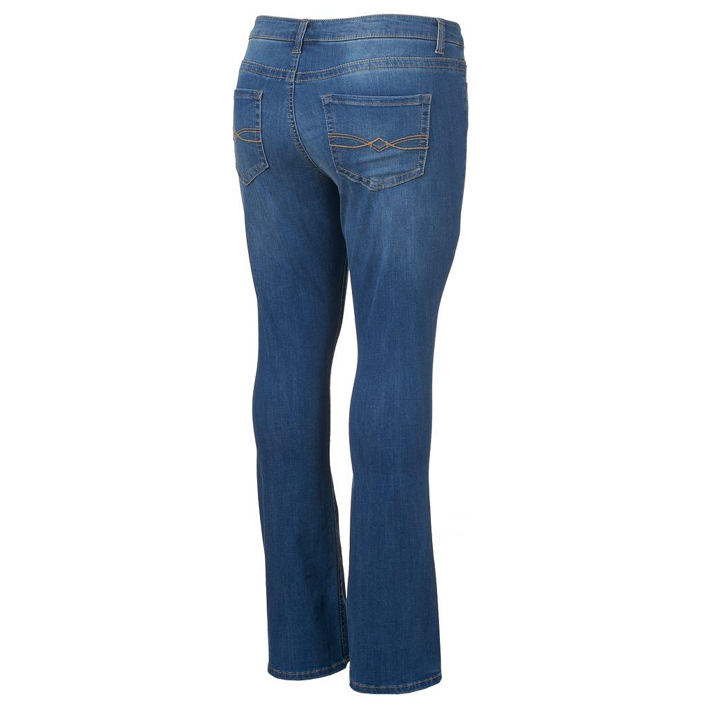 Juniors' Plus Size Mudd® FLX Stretch Faded Skinny Bootcut Jeans