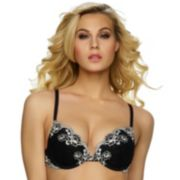 Jezebel Bra: Demure Lace Plunge Push-Up Bra 24039