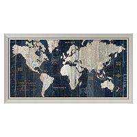 Amanti Art Old World Map Blue Framed Wall Art
