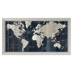 Amanti Art Old World Map Blue Framed Wall Art