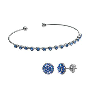 Crystal Brilliance Silver Tone Cuff Bracelet & Stud Earring Set