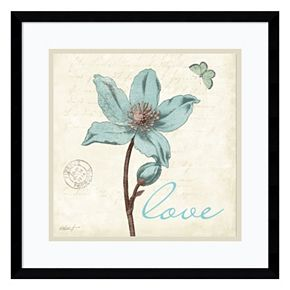 "Amanti Art Touch of Blue IV ""Love"" Framed Wall Art"