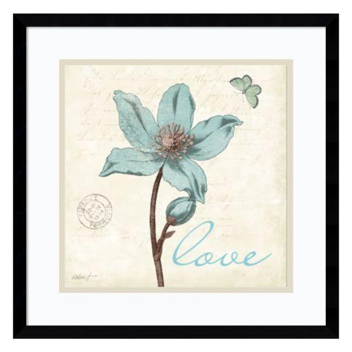 "Amanti Art Touch of Blue IV ""Love"" Framed Wall Art"