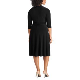 Plus Size Chaps Ruched Knot-Front Dress