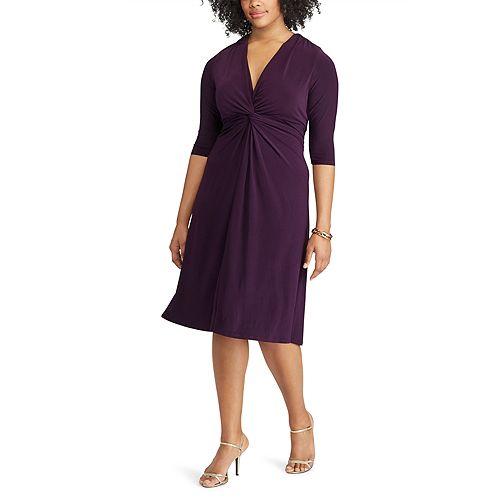 Plus Size Chaps Solid Knot-Front Empire Dress
