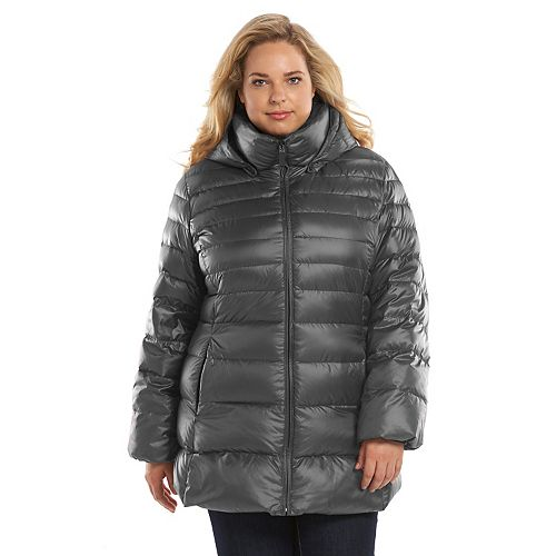 8a7deedea8d Plus Size AM Studio by Andrew Marc Hooded Down Puffer Jacket