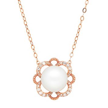 10k Rose Gold Freshwater Cultured Pearl & 1/10 Carat T.W. Diamond Flower Necklace