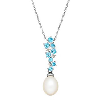 Sterling Silver Freshwater Cultured Pearl, Blue Topaz & Diamond Accent Pendant Necklace