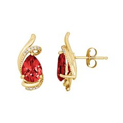 10k Gold Garnet & Diamond Accent Teardrop Earrings