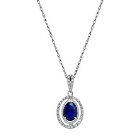10k White Gold Sapphire & 1/10 Carat T.W. Diamond Oval Halo Pendant Necklace