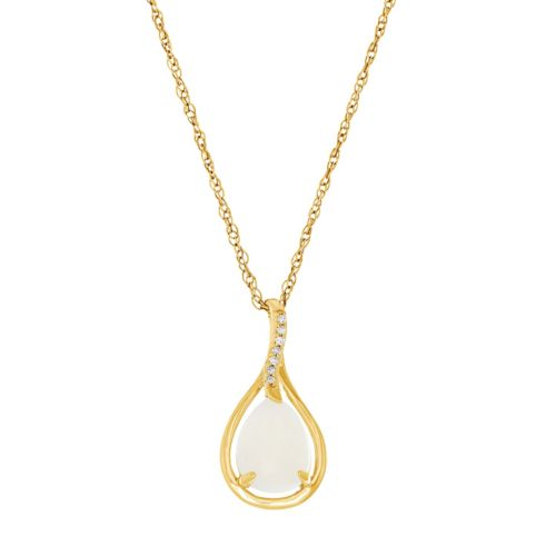 10k Gold Lab-Created White Opal & Diamond Accent Teardrop Pendant Necklace
