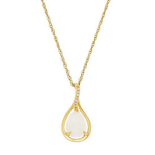 10k Gold Lab-Created White Opal & Diamond Accent Teardrop Pendant Necklace