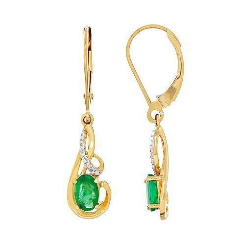 10k Gold Emerald & Diamond Accent Swirl Drop Earrings