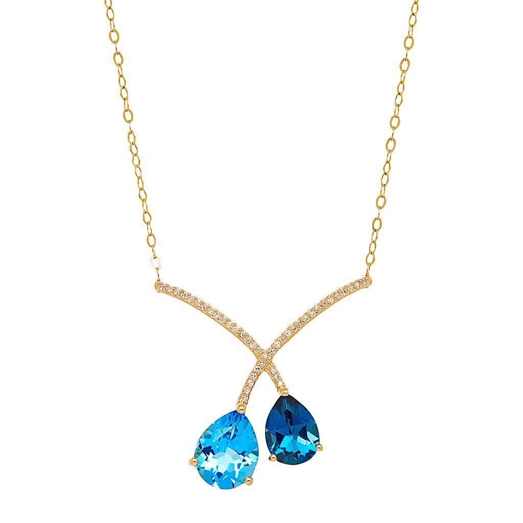 10k Gold Blue Topaz & 1/10 Carat T.W. Diamond Crisscross Necklace