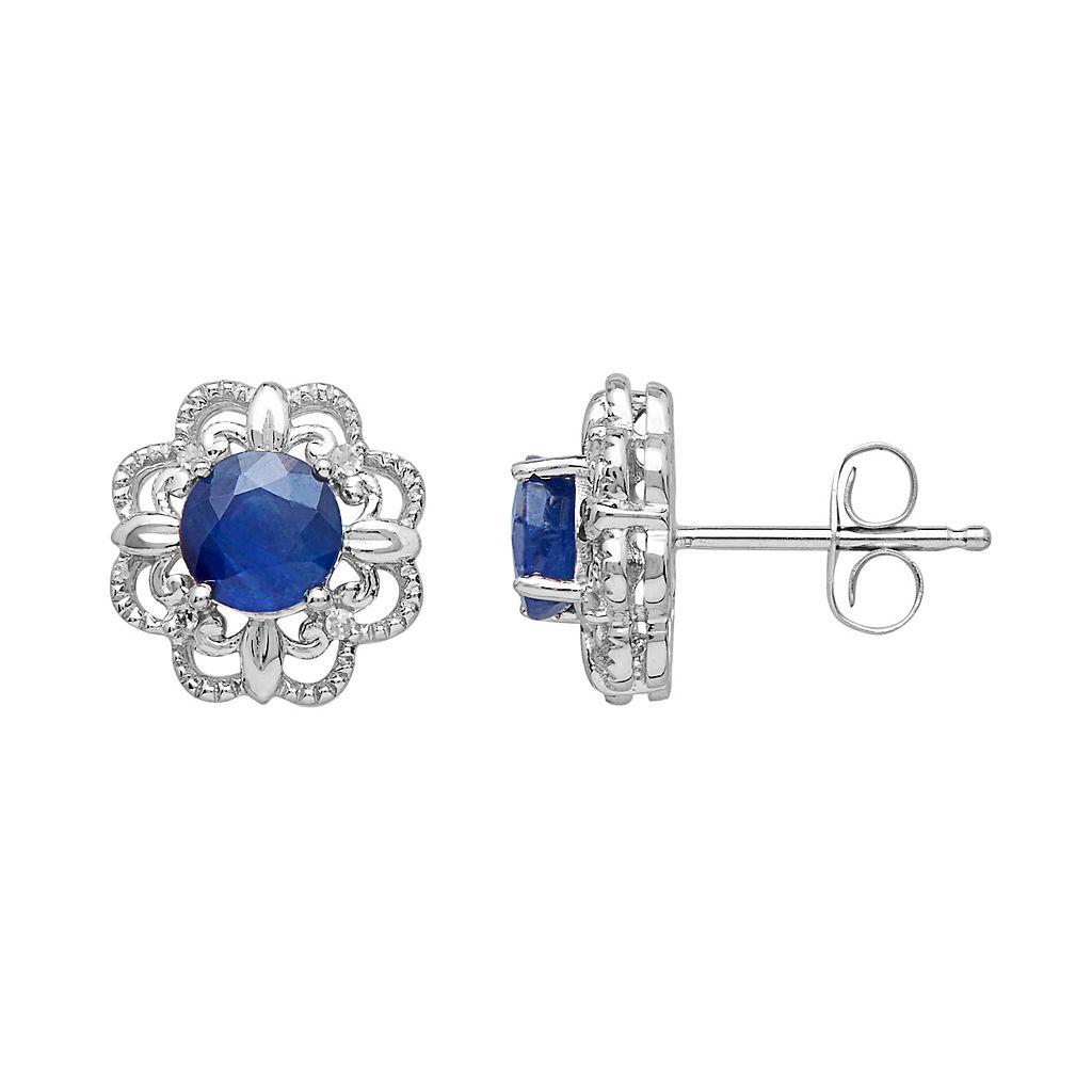 10k White Gold Sapphire & Diamond Accent Flower Stud Earrings
