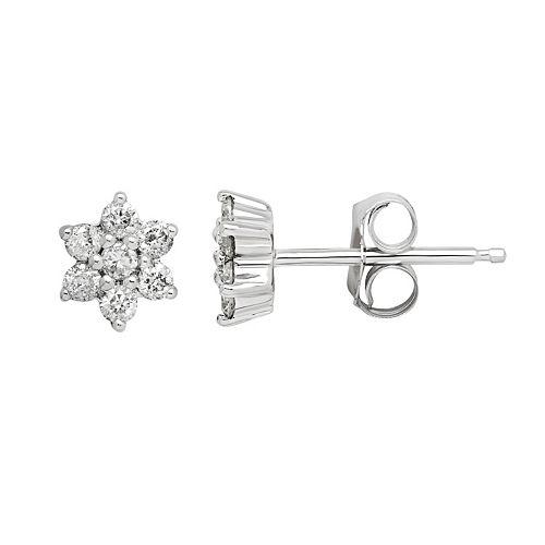 10k White Gold 1/5 Carat T.W. Diamond Flower Stud Earrings