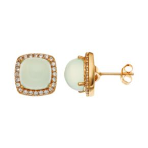 Sophie Miller14k Gold Over Silver Chalcedony & Cubic Zirconia Halo Stud Earrings
